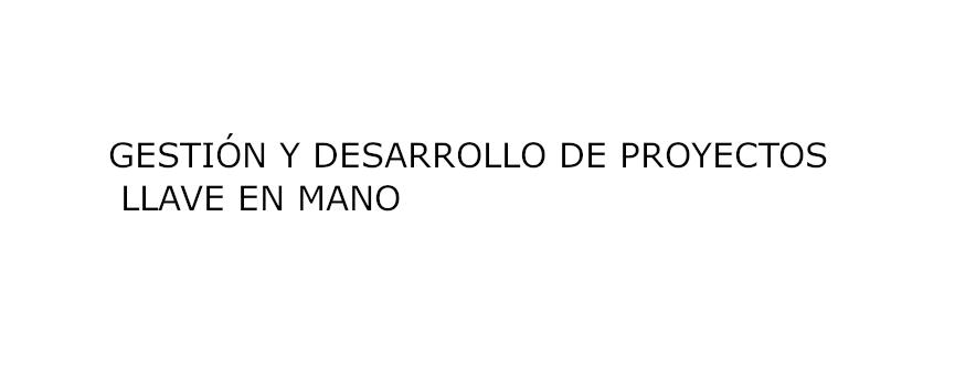 GESTIÓN Y DESARROLLO DE PROYECTOS LLAVE EN MANO